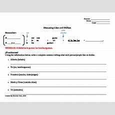 Gustar  Spanish Likes And Dislikes Practice Worksheet By Less Stress Teaching