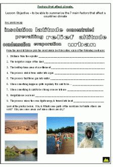 weather factors worksheet factors that affect the climate of an area what factors determine the climate 2019 01 28