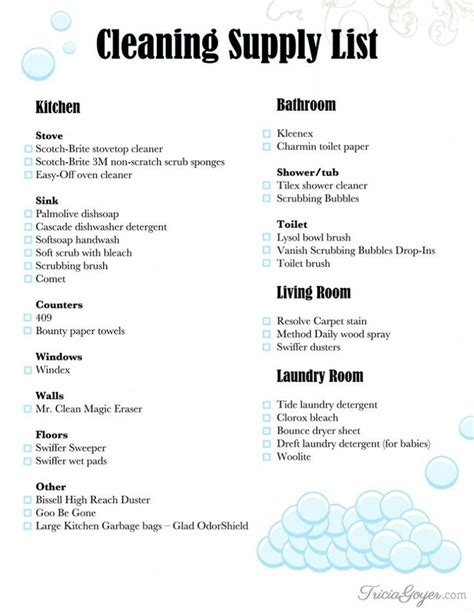 cleaning supply list printable cleaning supplies list