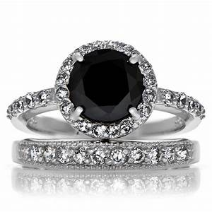 Fake black diamond rings wedding promise diamond for Black wedding rings with diamonds