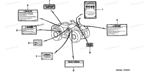 honda atv 2001 oem parts diagram for labels partzilla