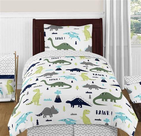 mod dinosaur blue green bedding set  piece twin size