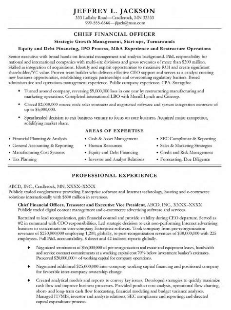 Cfo Cv Template Doc by Cfo Resume Out Of Darkness