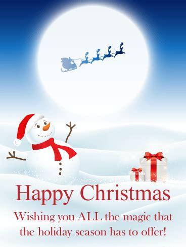wishing magic merry christmas card birthday