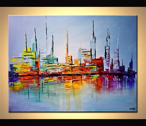 cityscape painting city lights painting modern abstract