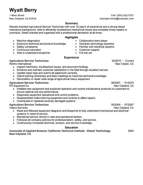 Best Service Technician Resume Example From Professional Resume Writing Service