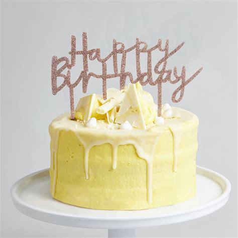 rose gold glitter acrylic happy birthday cake topper