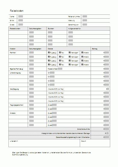 reisekostenabrechnung als vorlage im internet