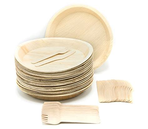 dinnerware disposable eco friendly plates palm sets knives leaf supplies wooden round party coolest forks compostable natural