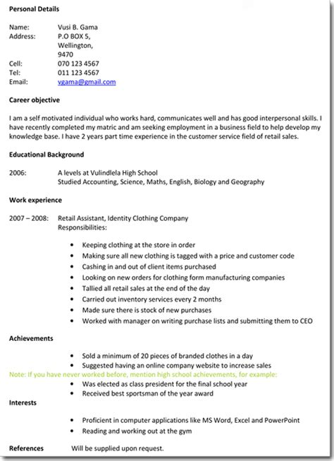 Resume School Leaver by Writing A Professional Cv Luckysters