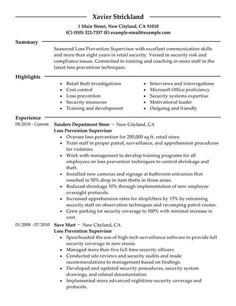 loss prevention supervisor resume exles