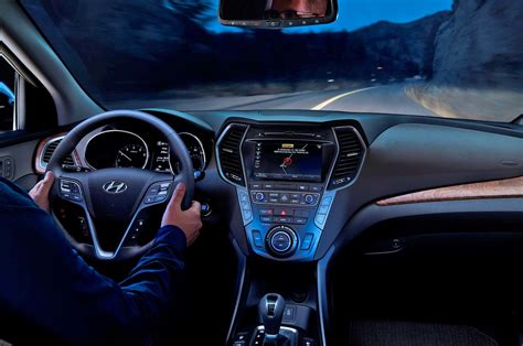 hyundai santa fe interior view night motor trend