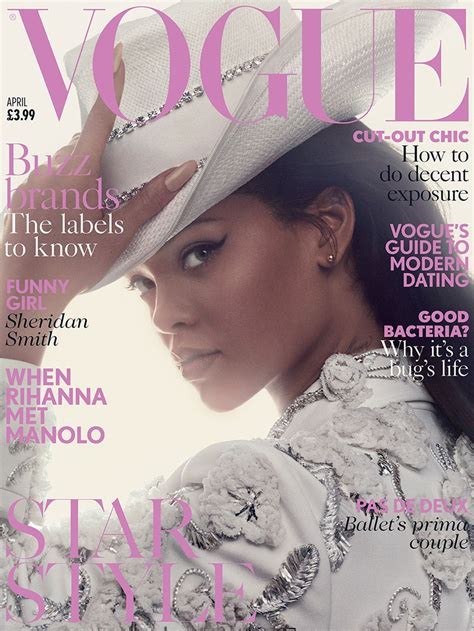 Latest Vogue Cover by Rihanna Manolo Blahnik Shoes Vogue Uk 2016 Cover
