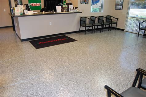 epoxy flooring white fast lube plus holly springs gray epoxy floor by witcraft decorative concrete coatings