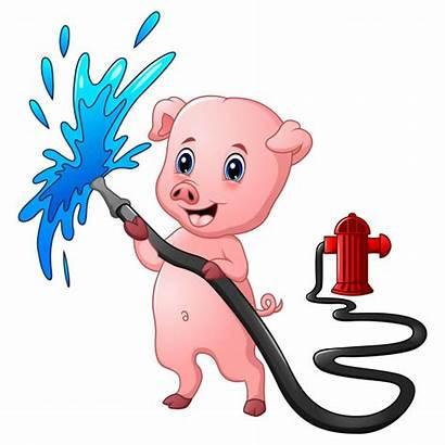 Fire Hydrant Cartoon Hose Water Tuyau Spraying