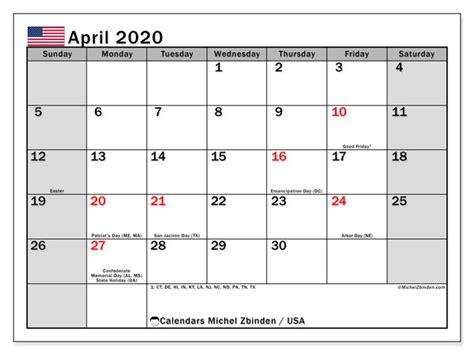 april  calendar usa michel zbinden en