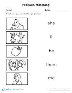 pronoun worksheet  kindergarten kids kids