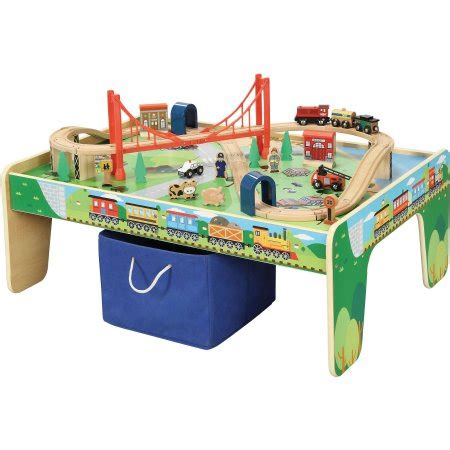train table set for 2 year old wooden 50 piece train set with small table only at walmart