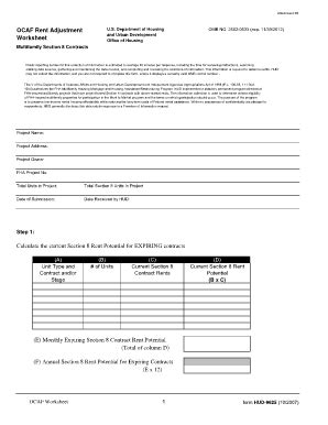 Fillable Online Ocaf Worksheet  Hud Fax Email Print Pdffiller
