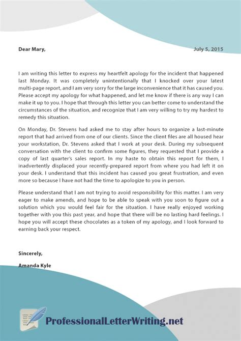 write  explanation letter  mistake