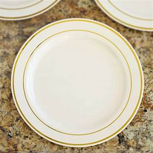 9quot PLASTIC PLATES Round TRIM Party Wedding Dinner Catering