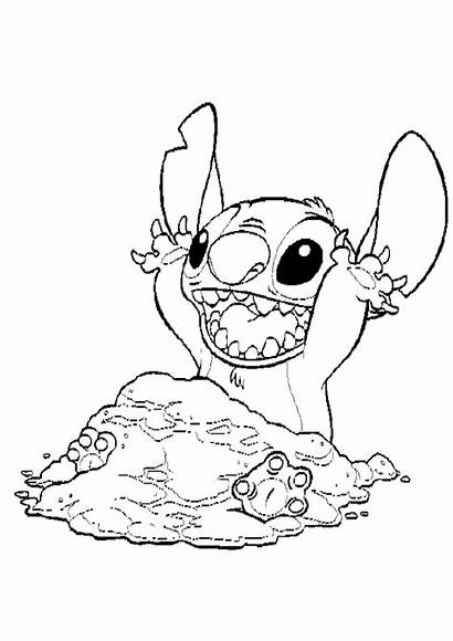 Stitch Coloring Pages Lilo Sand Colouring Christmas