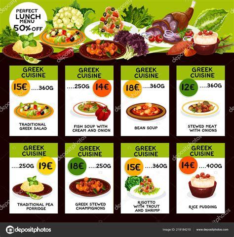 menu de cocina griega  precios  platos de comida