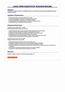 Teaching Objective Examples Long Term Substitute Teacher Resume Great Sample Resume