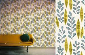 Le Papier Peint Jaune : papiers peints pour un salon vintage blog au fil des ~ Zukunftsfamilie.com Idées de Décoration