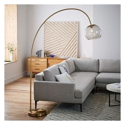 west elm arc floor l west elm overarching acrylic shade floor l brass smoke
