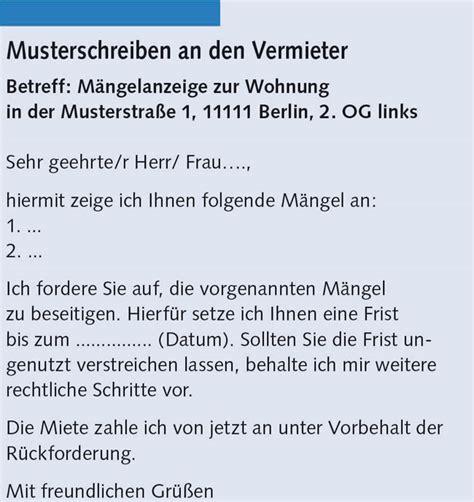 Maengelruege Und Maengelbeseitigung by M 228 Ngelanzeige Vermieter Frist H 228 User Immobilien Bau