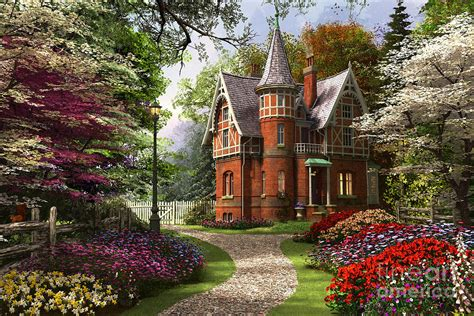 Victorian Cottage In Bloom Digital Art By Dominic Davison