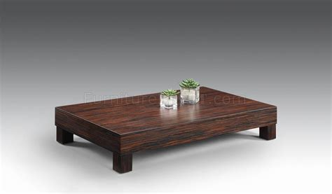 Zebrano Finish Low Base Contemporary Coffee Table