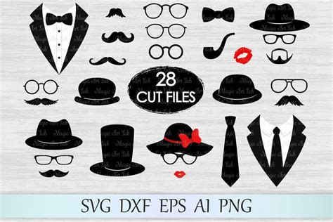 Photo Booth Props Svg, Mustaches Svg, Glasses Svg, Tuxedo