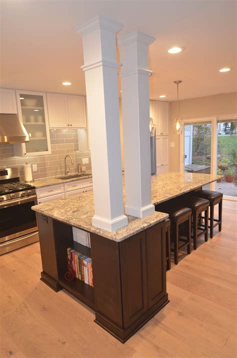 kitchen island columns  level remodeling