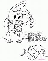 Easter Coloring Pages Bunny Happy Rabbit Cartoon Eggs Colouring Egg Hoppy Fancy Printable Ink Cool Popular Scramble Coloringhome sketch template
