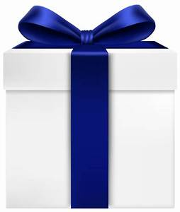White Gift Box with Blue Bow Transparent PNG Clip Art ...