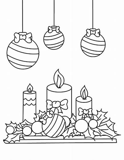 Coloring Candle Christmas Pages Mistletoe Under Printable