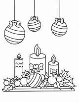 Coloring Candle Christmas Pages Mistletoe Under Printable Getcolorings Colornimbus sketch template