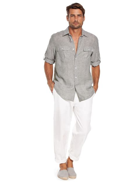 Green Linen Shirt for Men   Patrol Linen Pilot Shirt   Island Company