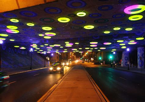 led halos interactively light  highway underpass  san