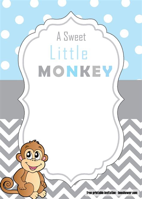 cute monkey baby shower invitations templates  printable baby shower invitations