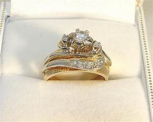 reduced14k 2 toned gold 033ct 6 dia engagement With used wedding ring sets