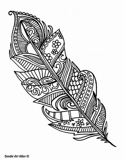 Doodle Coloring Feather Alley Pages Books Adult
