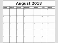 August 2018 Printable Monthly Calendar