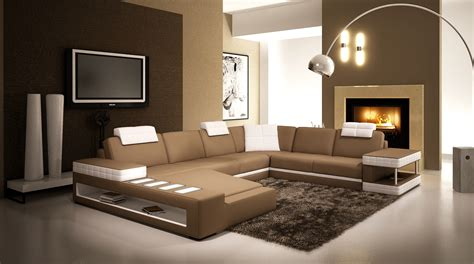 deco in canape d angle panoramique en cuir marron et blanc ang pano marron