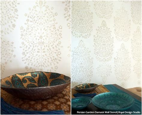 Diy Tutorial How To Stencil Indian Style Wallpaper Wall