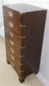 antique military style tall narrow chest of drawers sold