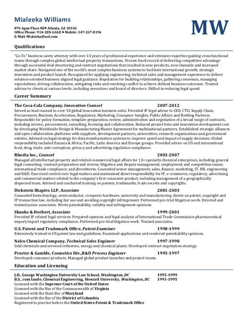 Transactional Attorney Resume Sle by Williams 2012 Transactions Resume