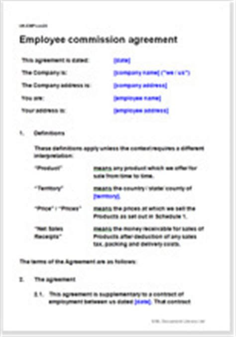 Commission Agreement Template Australia by Employee Commission Agreement Legal Document Template